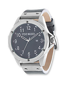 Steve Madden Men's Oversized Nail Head Leather Watch