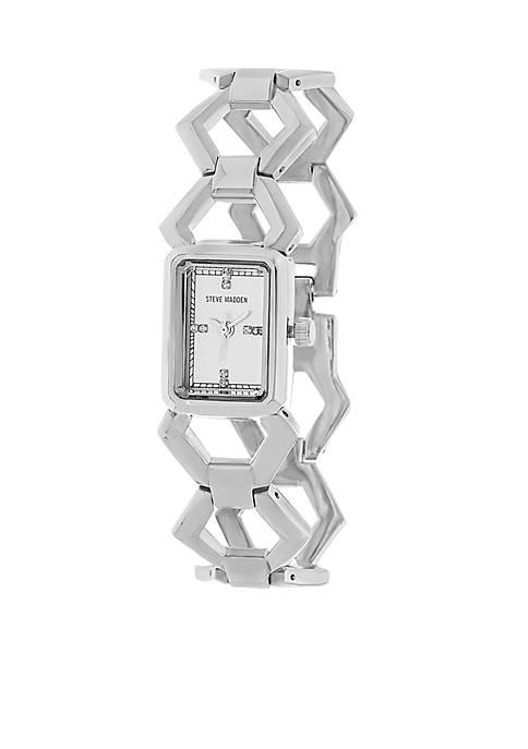 Womens Silver-Tone Geo Link Watch