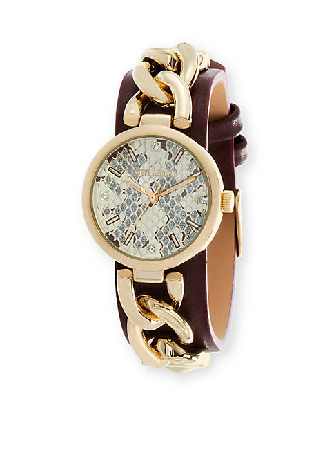 Womens Alloy Curb Chain Black Leather Watch