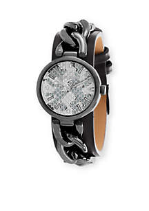 Steve Madden Women's Alloy Curb Chain Black Leather Watch