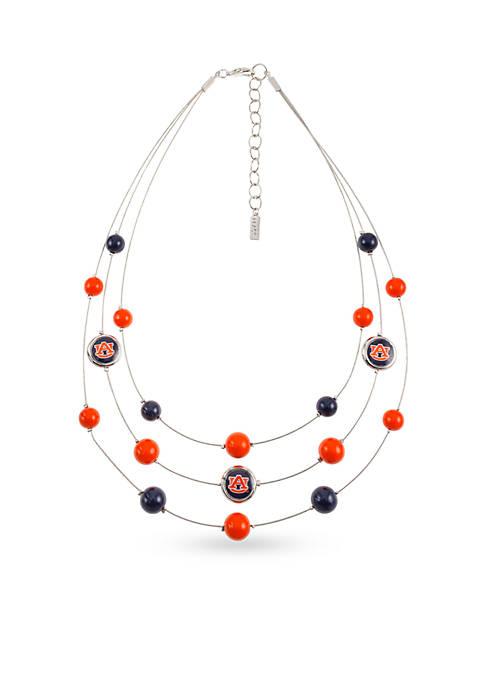 Silver-Tone Auburn University Tigers Beaded Illusion Necklace