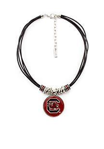 Silver Tone Multi-Cord Cast Bar University of South Carolina Gamecocks Necklace