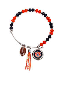 Silver-Tone Auburn University Tigers Beaded Bangle