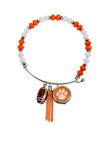 Silver-Tone Clemson University Tigers Beaded Bangle