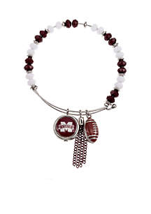 Silver-Tone Mississippi State University Bulldogs Fringe Beaded Bangle