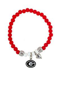 University of Georgia Buldogs Beaded Stretch with Logo Bracelet