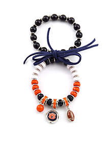 Silver Tone Auburn University Tigers 2-Row Strech Charm Bracelet