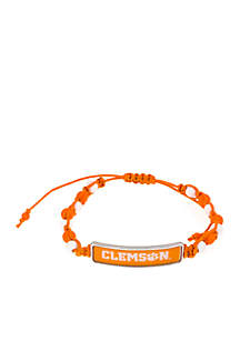 SIlver-Tone Clemson Woven Beaded Pull Through Bracelet