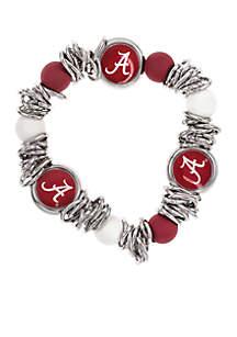 Silver-Tone Alabama Bead Logo Scrunch Stretch Bracelet