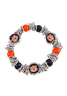 Silver-Tone Auburn University Bead Logo Scrunch Stretch Bead