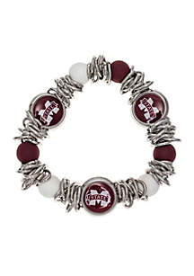 Silver-Tone Mississippi State University Beaded Bracelet