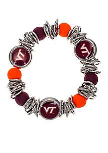 Silver-Tone Virginia Tech Hokies Bead Logo Stretch Bracelet