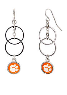 Silver-Tone Clemson University Tigers Double Ring Earrings