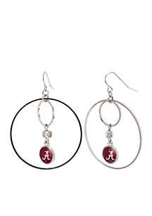 Silver-Tone University of Alabama Crimson Tide Large Hoop with Logo Earrings
