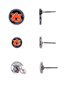 Auburn Tigers Silver Tone Set of 3 Button Earrings
