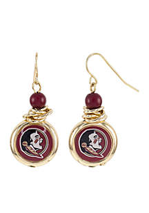 Florida State Seminoles Bead with Scrunch Logo Drop Earrings