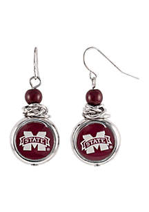 Mississippi State Bulldogs Bead with Scrunch Logo Drop Earrings