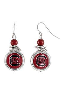 South Carolina Gamecocks Bead with Scrunch Logo Drop Earrings