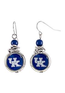 Kentucky Wildcats Bead with Scrunch Logo Drop Earrings