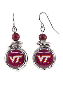 Virginia Tech Hokies Silver Bead with Scrunch Logo Drop Earrings