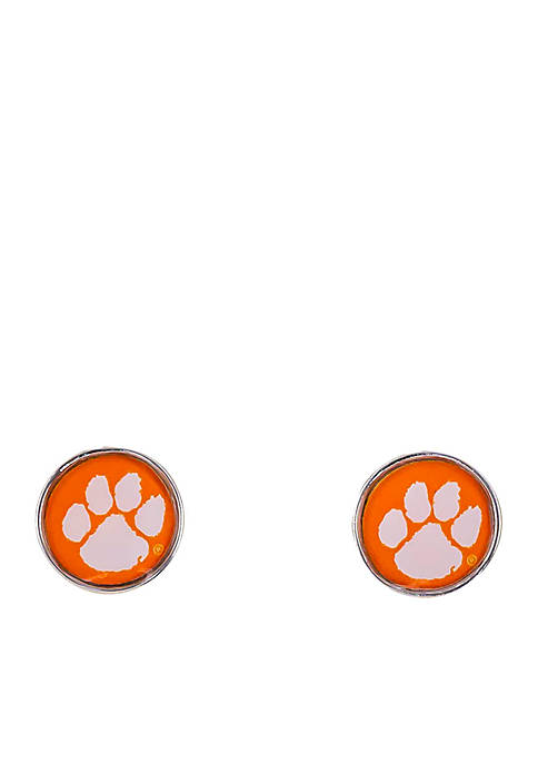 accessory PLAYS® Clemson Tigers Small Disc Button Earrings