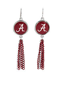 Alabama Crimson Chain Tassel Earrings