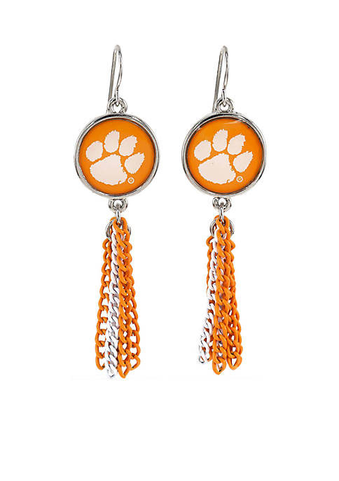 accessory PLAYS® Clemson Tigers Chain Tassel Earrings