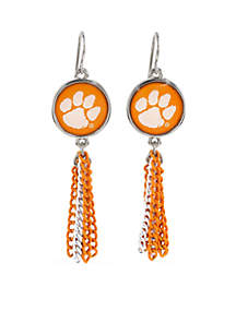 Clemson Tigers Chain Tassel Earrings