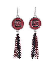 South Carolina Gamecocks Chain Tassel Earrings