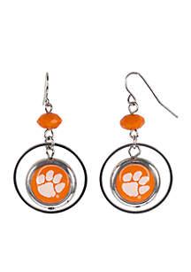 Silver-Tone Clemson University Hoop Logo Insert Earrings