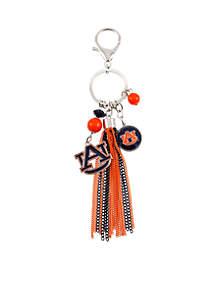 Auburn Tigers Key Chain with Bead and Tassel
