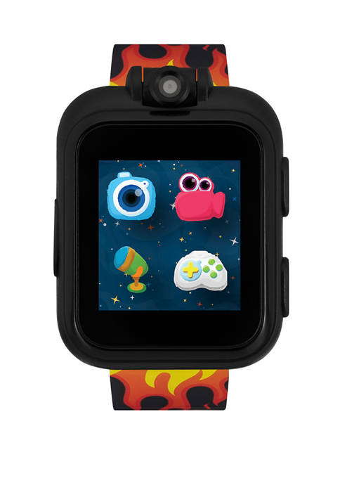 PlayZoom Smartwatch For Kids: Black with Flames Print