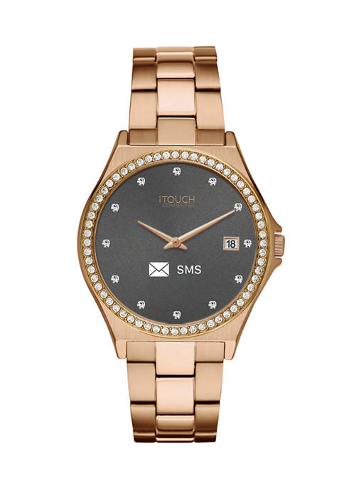 Connected Womens Hybrid Smartwatch Fitness Tracker: Crystal Case with Rose Gold Metal Strap