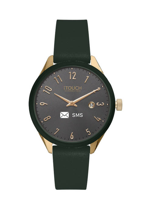 Connected Womens Hybrid Smartwatch Fitness Tracker: Gold Case with Olive Leather Strap