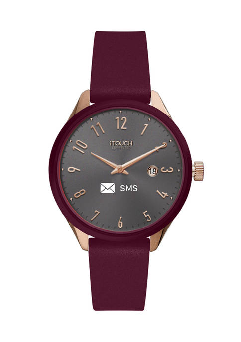 Connected Womens Hybrid Smartwatch Fitness Tracker: Rose Gold Case with Merlot Leather Strap