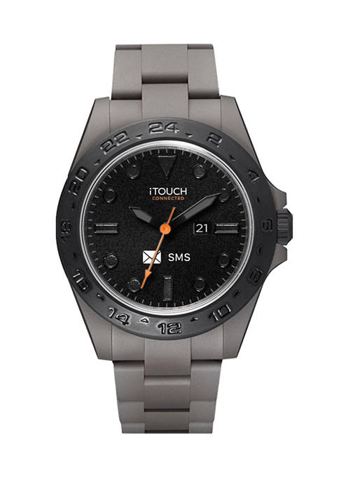 Connected Mens Hybrid Smartwatch Fitness Tracker: Gray Case with Gray Acrylic Strap