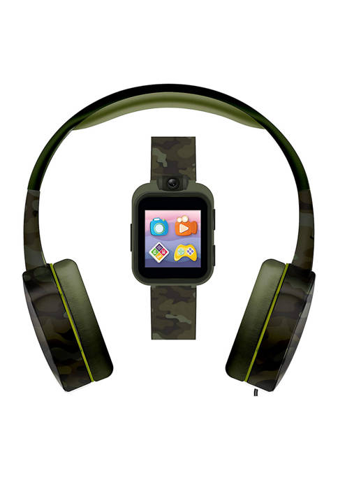 PlayZoom 2 Interactive Educational Kids Smartwatch with Headphones: Green Camouflage Print