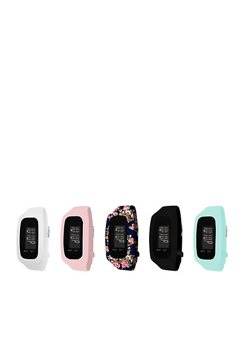 Womens Fitness Tracker & Black Floral 5-Piece Interchangeable Straps Boxed Set