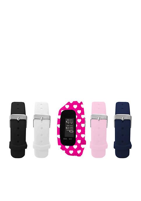 Womens Fitness Interchangeable Strap Tracker Watch Set