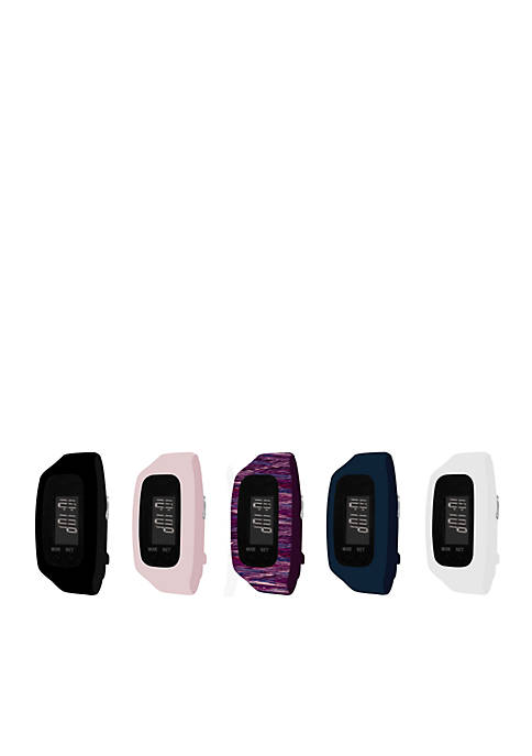 Womens Fitness Tracker & 5-Piece Navy Watch Interchangeable Straps Boxed Set