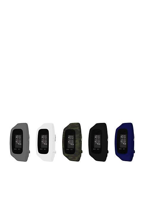 Mens Fitness Tracker & 5-Piece Interchangeable Straps Boxed Set