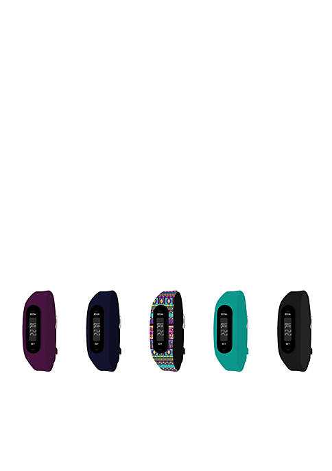 Womens Slim Fitness Tracker & 5-Piece Teal Watch Interchangeable Straps Boxed Set