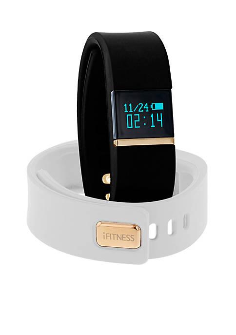 Womens iFITNESS Black White Activity Tracker Interchangeable Watch