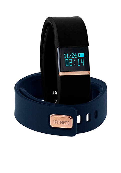 iTouch Wearables Womens Rose Gold-Tone iFITNESS Black Activity