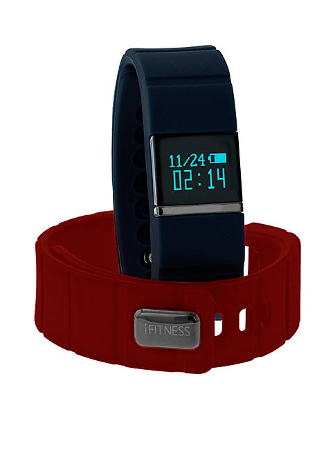 iTouch Wearables Mens Hematite-Tone iFITNESS Red Activity Tracker