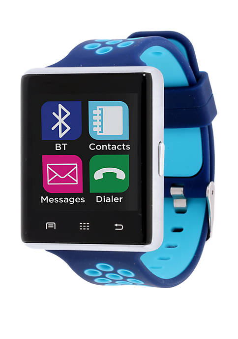 iTouch Silver Tone and Blue Perforated Strap Smartwatch