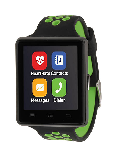 iTouch Green and Black Perforated Strap Smartwatch