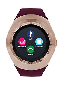 ITouch Curve Rose Gold-Tone and Burgundy Strap Smartwatch