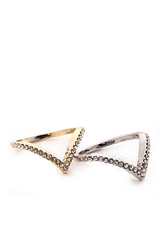true Two-Tone Crystal Chevron Midi Rings