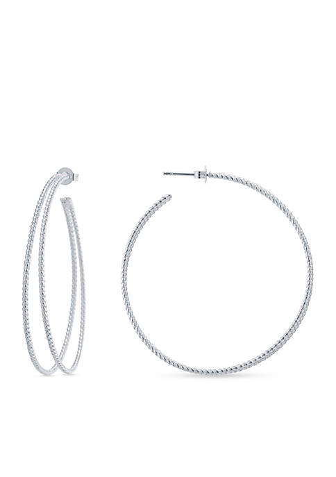 evie & emma Silver-Plated Double Textured Hoop Earrings